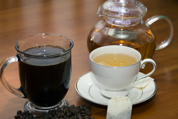 Coffee-and-Cup-of-Green-Tea